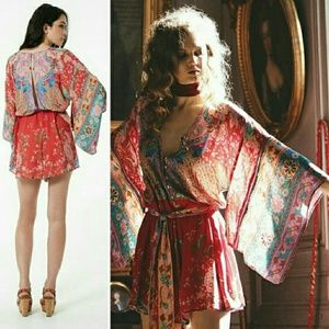 New spell lotus romper kimono ruby playsuit red S